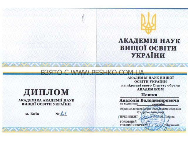 Диплом Академика АНВО Украины