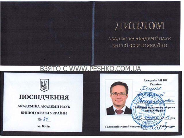 Удостоверение Академика АНВО